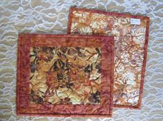 Quilted Mug Rug Snack Mat  Rust Orange Gold Brown by QuiltinWaYnE