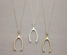 Wishbone Long Necklace // Gold Wishbone, or Rose Gold or Silver Options // Long Wish Bone Necklace // Large Wishbone Pendant