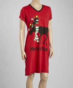 Loving this Red 'Moosletoe' Nightshirt - Women on #zulily! #zulilyfinds