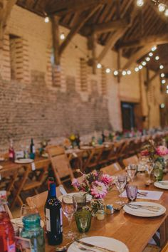 Laid Back Coastal Wedding at Great Waxham Barns in Norfolk with Bright Colour Scheme & Customised Sanyukta Wedding Dress Bright Color Schemes, Norfolk, Big Day, Table Settings, Barn, Colours, Rustic, Table Decorations, Wedding Dresses