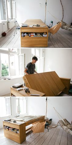 Freunde von Freunden's sleep desk that transforms from desk to sleep spot with a simple flip of the surface. Freunde von Freunden's sleep desk that transforms from desk to sleep… Space Saving Furniture, Cool Furniture, Furniture Design, Furniture Ideas, Modern Murphy Beds, Transforming Furniture, Interior Architecture, Interior Design, Tiny Spaces