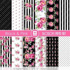 Pink Roses, Black Roses, Pink Black, Patterned Heat Transfer Vinyl, Decoupage, Pink Blossom, Vinyl Crafts, Paper Crafts, Digital Scrapbooking