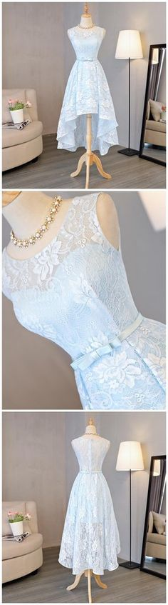 Light Blue Scoop Neckline Lace High Low Homecoming Prom Dresses, Affor – SposaDesses
