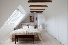 danish bedroom under the eaves. photo by andreas mikkel. Home Bedroom, Modern Bedroom, Master Bedroom, Bedrooms, Danish Bedroom, Attic Design, Interior Design, Furniture Decor, Bedroom Furniture