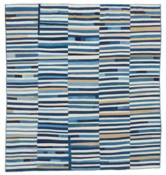 #6 Blue improv stripes    Kansas Quilt by Maura Grace Ambrose of Folk Fibers