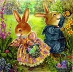Hiding the Easter eggs : Susan Wheeler Susan Wheeler, Beatrix Potter, Bunny Art, Cute Bunny, Bunny Pics, Woodland Creatures, Vintage Easter, Art And Illustration, Cute Art