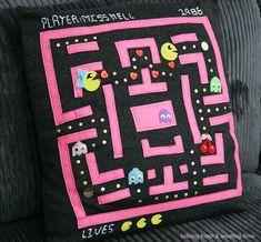 Talking Trash & Wasting Time arcade craft: Handmade Pac-man geek nerd love gamer pillow