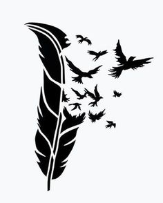 BIRDS of a FEATHER stencil airbrush tattoo. Silhouette Cameo, Silhouette Projects, Silhouette Portrait, Woman Silhouette, Feather Stencil, Stencil Art, Animal Stencil, Tattoo Feather, Bird Stencil