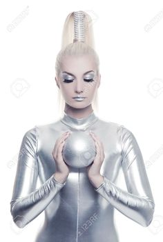 futuristic makeup silver - Google Search