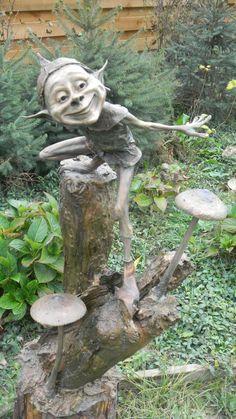Bronze Garden sculpture by artist Victoria Chichinadze titled: 'Flyer (Bronze Gnome and Elf Garden Statuette)'