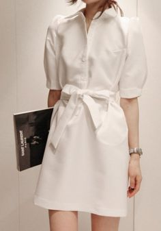 White Belt Frenum Lapel Cap Sleeve Spandex Dress