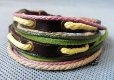 Punk and Rock Soft Leather Multicolour Ropes Cuff by accessory365, $8.50