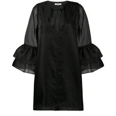 Ganni Seneca bell sleeve dress (905 TND) ❤ liked on Polyvore featuring dresses, black, flared sleeve dress, ganni, bell sleeve dress and ganni dress
