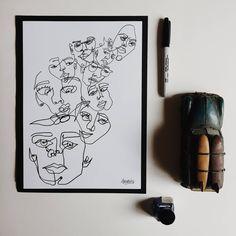 Overthinking - Original Print - Illustration - Portraiture - Simple Design - Faces - Blind Contour Drawing - Wall Hanging -Minimalist by DepthsOfYou on Etsy Unframed Prints, Simple Designs, Original Prints, Illustration, Portraiture, Drawings, Contour Drawing, Hand Drawn Design, Prints
