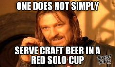 """Boromir's Advice for Good Memorial Day Party - """"One does not simply serve craft beer in a red solo cup.""""  Funny craft beer meme. Lord of the rings beer geek."""
