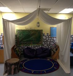 DIY faux tent for our Kids' Co. school age class summer camping theme