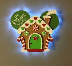 Christmas Gingerbread house Mickey Disney Cruise Door Magnet with LED lights, Wooden magnet, Very Merrytime Cruise magnet image 0 Disney Christmas Crafts, Mickey Christmas, Christmas Gingerbread House, Disney Crafts, Christmas Art, Disney Holidays, Christmas Classroom Door, Christmas Door Decorations, Deco Disney