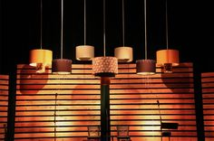 Hanging lamps cafe set design - South Telegraph Christian Church...I'm really liking all of the wood...and the lamps!