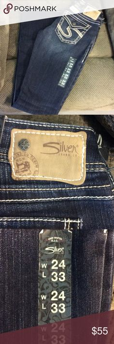 NWT Silver Jeans Co brand size 24 waist NWT Silver Jeans size 24 waist and 33 inseam. The design is Tuesday Flap : Low Rise, Straight Fit, Slim hip & thigh, and boot cut leg. Silver Jeans Pants Straight Leg