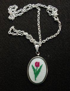 Pink Tulip Silvertone Cross Stitch Pendant от BlueTopazStitchery