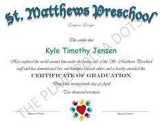 Items similar to Preschool Graduation Diploma, Custom, Pre School, Certificate on Etsy Homeschool Diploma, School Certificate, Preschool Graduation, Pre School