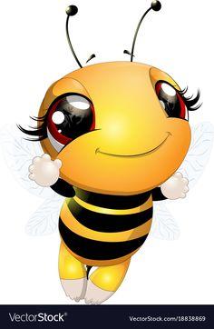 Beautiful cute bee vector image on VectorStock Cartoon Bee, Cute Cartoon, Bee Rocks, Hello Memes, Bee Pictures, Bee Drawing, Cute Bee, Bee Art, Pintura Country
