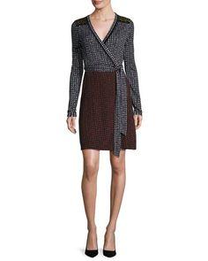Mixed+Dot-Print+Jersey+Wrap+Dress,+Black+by+Diane+von+Furstenberg+at+Neiman+Marcus.