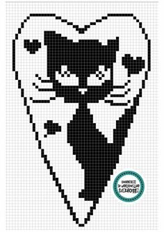 Fillet Crochet, Knitted Cat, Cross Stitch Heart, Charts And Graphs, Knitting Charts, Plastic Canvas Patterns, Loom Beading, Crochet Doilies, Pixel Art