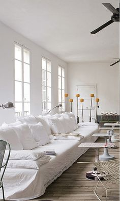 Extra long white linen sofa