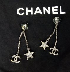 100% Authentic CHANEL CC Logo and Star Swarovski Encrusted Earrings MINT #CHANEL #Earrings