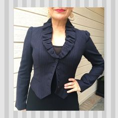 Rebecca Taylor cropped navy color blazer Menswear style navy striped blazer. Ruffled collar. Cropped length. Buckle accent on the back. Great condition. 96% wool   ✔️ Please submit your best offer using the blue offer button.  ✔️ Bundle 3+ items, get 20% off  No Trades, PayPal, or Negotiating in the comments. Rebecca Taylor Jackets & Coats Blazers