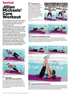 Jillian Michaels ab workout for Womens Health Magazine
