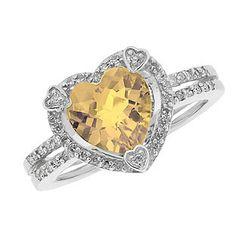November Birthstone Checkerboard Citrine Heart Silver Ring