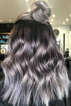 Ash Grey Hair Half-Up ❤ Grey ombre hair remains popular, whic. Ash Grey Hair Half-Up ❤ Grey ombre hair remains popular, which is not surprising as this color is super cool. If you wonder how to pull off grayish shades, see our ideas. Hair Dye Colors, Ombre Hair Color, Blonde Ombre, Balayage Hair Grey, Gray Ombre, Grey Hair Lob, Ash Grey Hair Dye, Dying Hair Grey, Ash Ombre Hair