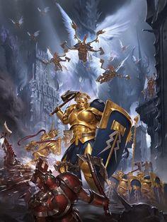 Warhammer Age of Sigmar: Stormcast Battletome Art - Dark Fantasy, Fantasy Battle, Fantasy Weapons, Fantasy Warrior, Fantasy World, Warhammer Age Of Sigmar, Warhammer Art, Warhammer Fantasy, Warhammer 40000