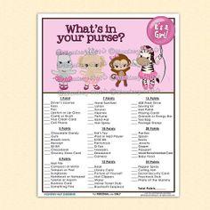 Monkey Tu Tu Cute Baby Shower What's in Your Purse ballerina girl pink hippopatamus elephant zebra princess tutu INSTANT DOWNLOAD on Etsy, $5.00