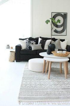 cojines blanco y negro sofa
