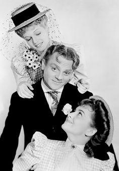 "Rita Hayworth, James Cagney & Olivia De Havilland in ""Strawberry Blonde"" (1941).....Uploaded By www.1stand2ndtimearound.etsy.com"