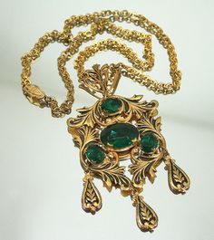 Vintage Necklace Victorian Revival Gilt Taille D by zephyrvintage, $65.00