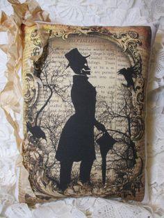 Tea Dyed HALLOWEEN Pillow SKELETON Script by ThePeonyShanty