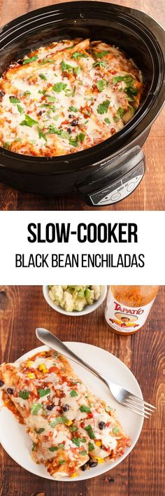 This slow-cooked black bean enchilada recipe will have your tongue doing flips. Simple, yet delicious, it's a perfect go-to when you run out of dinner ideas for the week. This weeknight meal is somewhat of a life-save. To slow-cook this easy recipe you'll need black beans,  frozen corn, chili powder, and add your chicken, pork, hamburger, beef, baked tofu, or roasted vegetables