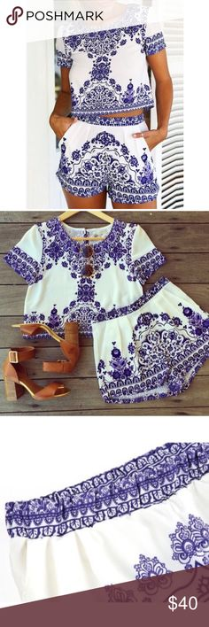 Blue White Bohemian Crop Top Short Set S M L Blue white bohemian crop too short set, includes top and shorts, Available in size small, medium, or large. ARRIVING TUESDAY/SHIPPING WEDNESDAY!  No Trades, Price Firm unless Bundled.  BUNDLE 3 OR MORE ITEMS FOR 15 % OFF. Boutique Shorts