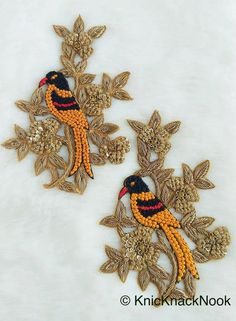 Embroidered Bird Parrot Applique With Orange, Black and Red Embroidery With Antique Gold Zardozi Work - Zardosi Embroidery, Embroidery Neck Designs, Basic Embroidery Stitches, Hand Embroidery Videos, Bead Embroidery Patterns, Hand Embroidery Flowers, Hand Work Embroidery, Gold Embroidery, Indian Embroidery
