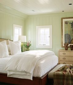 Love fluffy White bedding and painted wood walls -so fresh! Sage Green Bedroom, Green Bedroom Walls, Bedroom Paint Colors, Green Rooms, Wall Colors, Light Green Bedrooms, Light Green Walls, Yellow Walls, White Walls