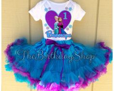 Disney Frozen Birthday outfit Queen Elsa Princess Anna tutu set PettiSkirt Dress Personalized Shirt