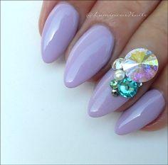 Pretty Lilac Acrylic & Gel nails with Stunning Swarovski Crystals. Nail Art Design Gallery, Gel Nail Art Designs, Lilac Nails, Lavender Nails, Luminous Nails, Nail Art Images, Acrylic Gel, Top Nail, Nail Artist