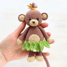The Cuddle Me Monkey Amigurumi Pattern comes with step by step crochet instructions and colorful pictures. This crochet monkey is an absolute hit among children :)