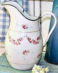 Antique French White Enamelware Pitcher with Hand Painted Pink Roses