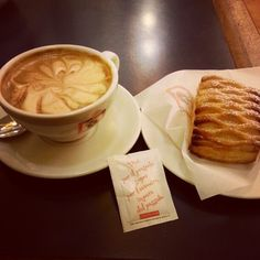 The classic Italian breakfast. Coffee (very pretty coffee) and a pastry.