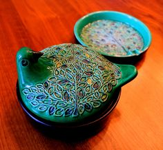 Bitossi lidded dish and matching ashtray (received as a gift January, January 2016, Vintage Ceramic, German, Artisan, Pottery, Ceramics, Dishes, Tableware, Kitchen